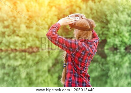 Girl Shoots Virtual Reality Glasses, Sunset In Nature, View From The Back