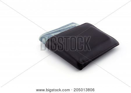 Old Brown wallet with dollar isolated on white background - clipping part.