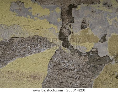 Yellow Plaster Peeling Cracked Facade Abstract Background