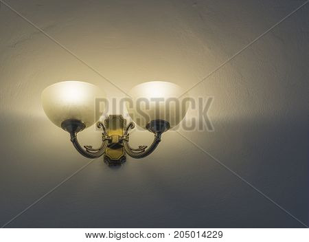 lightning retro chandelier on the white wall background