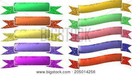 A set of decorative ribbon banners in metallic colours and glitter sparkles.