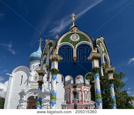 The roof over the Holy spring in the сentral square of the Trinity Lavra of St. Sergius. Sergiyev Posad, Golden ring, Russia