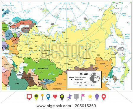 Russian Federation detailed political map and flat map pointers with separated layers.