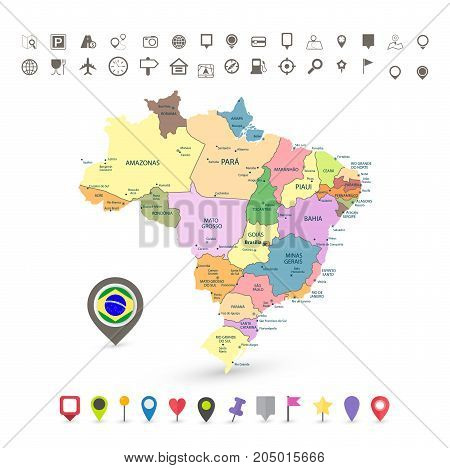Brazil map with flag and navigation icons isolated on white.