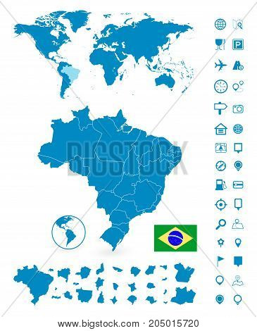 Detailed map brazil world map vector photo bigstock detailed map of brazil and world map navigation set vector illustration gumiabroncs Choice Image