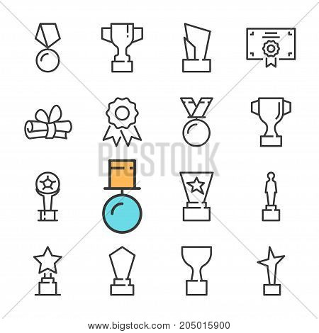 Vector black line Awards icons set. Includes such Icons as cup, Medal. Outline
