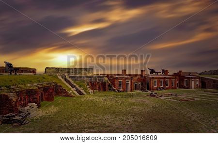 Fort Clinch at Fernandina Beach Amelia Island during sunset.