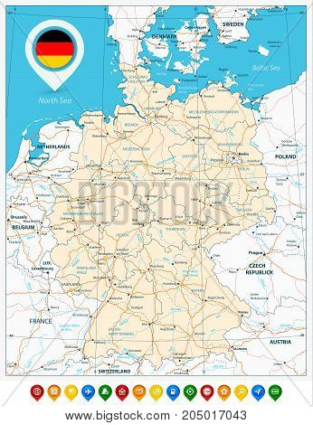 Road Map Germany Vector & Photo (Free Trial) | Bigstock
