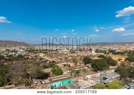 JAIPUR RAJASTHAN INDIA - MARCH 11 2016: Horizontal picture from Jama Masjid minaret of City Palace in Jaipur known as pink city in India.