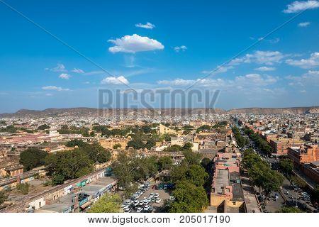 JAIPUR RAJASTHAN INDIA - MARCH 11 2016: Horizontal picture from Jama Masjid minaret of Jantar Mantar in Jaipur known as pink city in India.