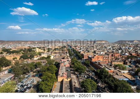 JAIPUR RAJASTHAN INDIA - MARCH 11 2016: Wide angle picture from Jama Masjid minaret of Jantar Mantar in Jaipur known as pink city in India.