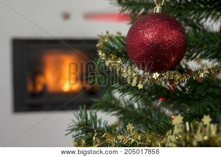 Christmas Background With A Bauble On A Tree
