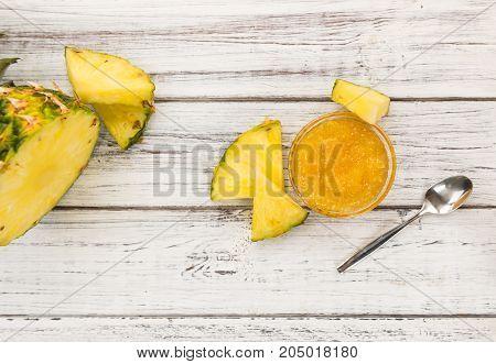 Pineapple Jam Close-up Shot, Selective Focus