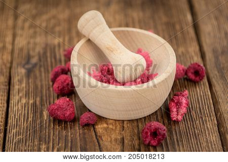 Portion Of Raspberry Powder On Wooden Background, Selective Focus