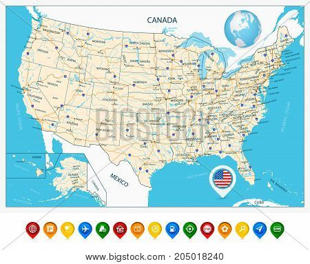 Highly Detailed Road Map Of United States And Colorful Map Pointers