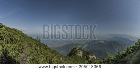 Panorama view from Velky Choc hill in north Slovakia in summer sunny day