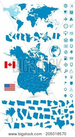 Detailed Map Of Usa And Canada With World Map Navigation Set