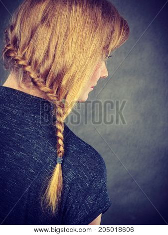 Woman With Blonde Hair And Braid Hairdo