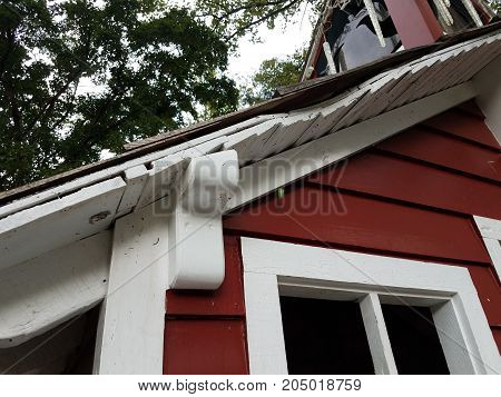 red house with a caterpillar butterfly pupae