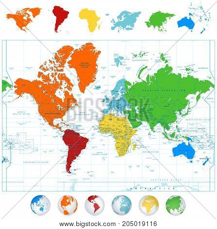 Detailed vector World map with colorful continents boundaries country names and 3D globes.