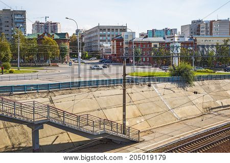 The city of Novosibirsk Siberia Russia - September 17 2017: Railways and railway pier in the center of Novosibirsk station