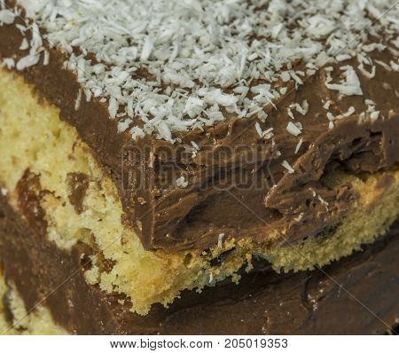 Coconut chocolate cake on blue dish with chocolate cream
