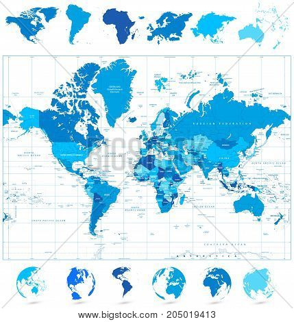 World Map in colors of blue and continents. Highly detailed vector illustration of World Map.