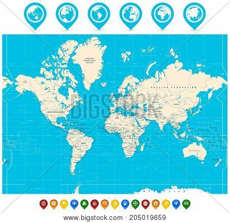 World Map Vector Illustration And Map Pointers