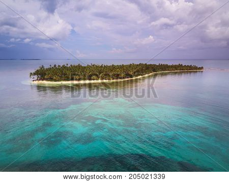 Caribbean travel destination theme. One caribbean island aerial drone view