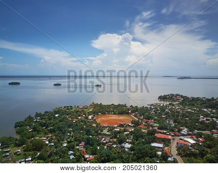 Bay in Bluefields town in Nicaragua aerial drone view