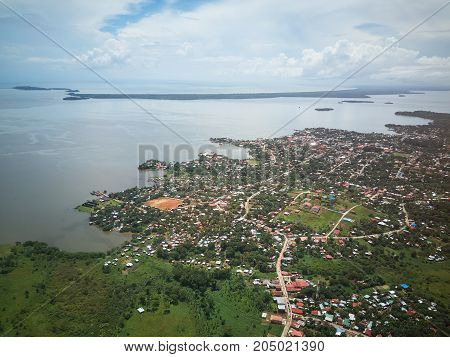 City in coastline of Nicaragua aerial drone view