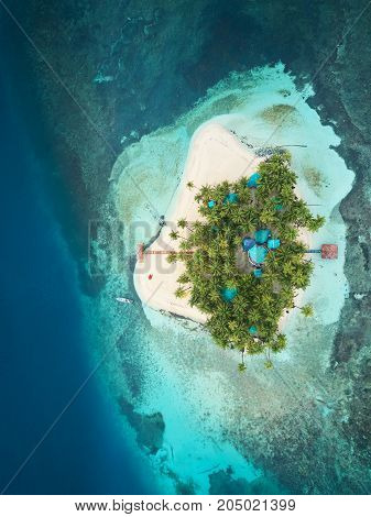 Vacation on caribbean island above drone view
