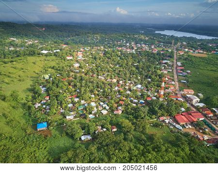 Houses in Bluefields town Nicaragua aerial drone view
