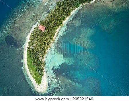 Beach on small island aerial above view