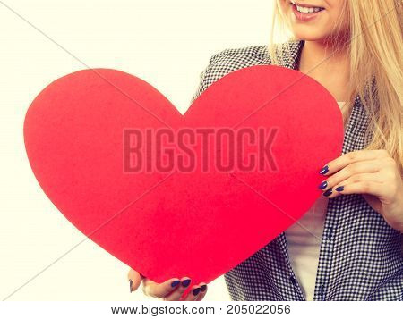Woman Holding Big Red Heart, Love Sign