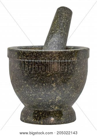 Closeup Stone Mortar and Pestle isolated on white background.