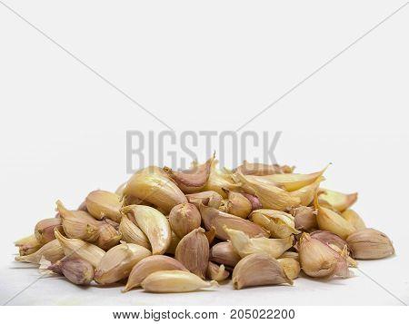 Closeup Garlic vegetable isolated on white background.