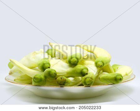 Vegetable Humming Bird Sesban Agasta on white background Edible flower.