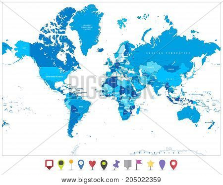 World Map In Colors Of Blue And Flat Map Pointers