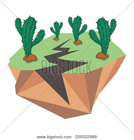 Earthquake and many cactus green on a white background for design