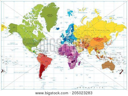 World Map Spot Colored Illustration
