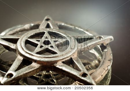 Pentagram With Reflection In The Mirror An Light