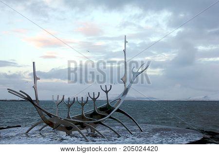 REYKJAVIK ICELAND - DECEMBER 30, 2012: the beautiful Solfar sculpture (Sun Voyager) in Reykjavik Iceland