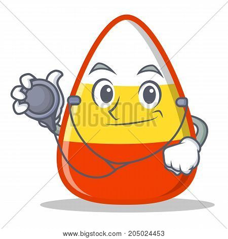 Doctor candy corn character cartoon vector illustration