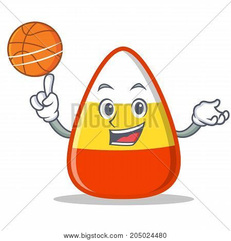 Playing basketball candy corn character cartoon vector illustration