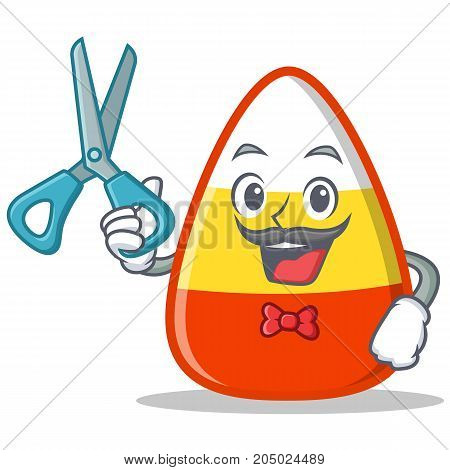 Barber candy corn character cartoon vector illustration