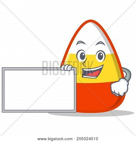 With board candy corn character cartoon vector illustration