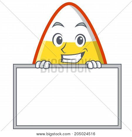 Grinning with board candy corn character cartoon vector illustration
