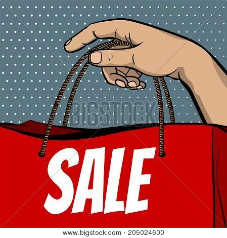 Retro guy poster dot background. Black friday vintage retail. Sale shopping advertising. Pop art man hand hold shop bag. Percentage discount banner. Vector comic text store illustration.