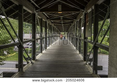 Footbridge at Snoqualmie Falls, Cascade Mountain, Seattle, Washington